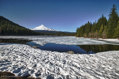 Mt Hood Reflected in Lake Trillium, Columbia River Gorge, Oregon, May, 2012