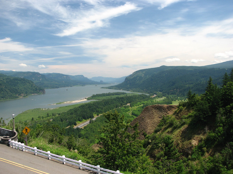 The scenic Columbia River Gorge.