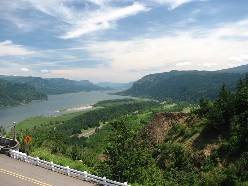 The scenic Columbia River Gorge.