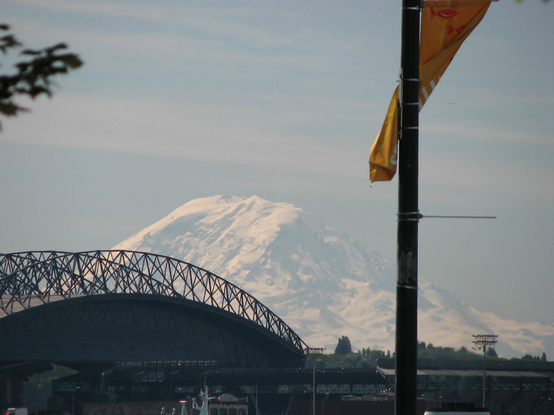 Mount Rainier as seen from the executive lounge at the Seattle Waterfront Marriott.