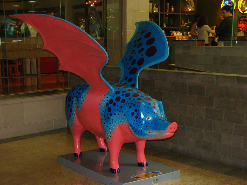 Can this pig fly? One of the many colorful pig sculptures on display in downtown Seattle.