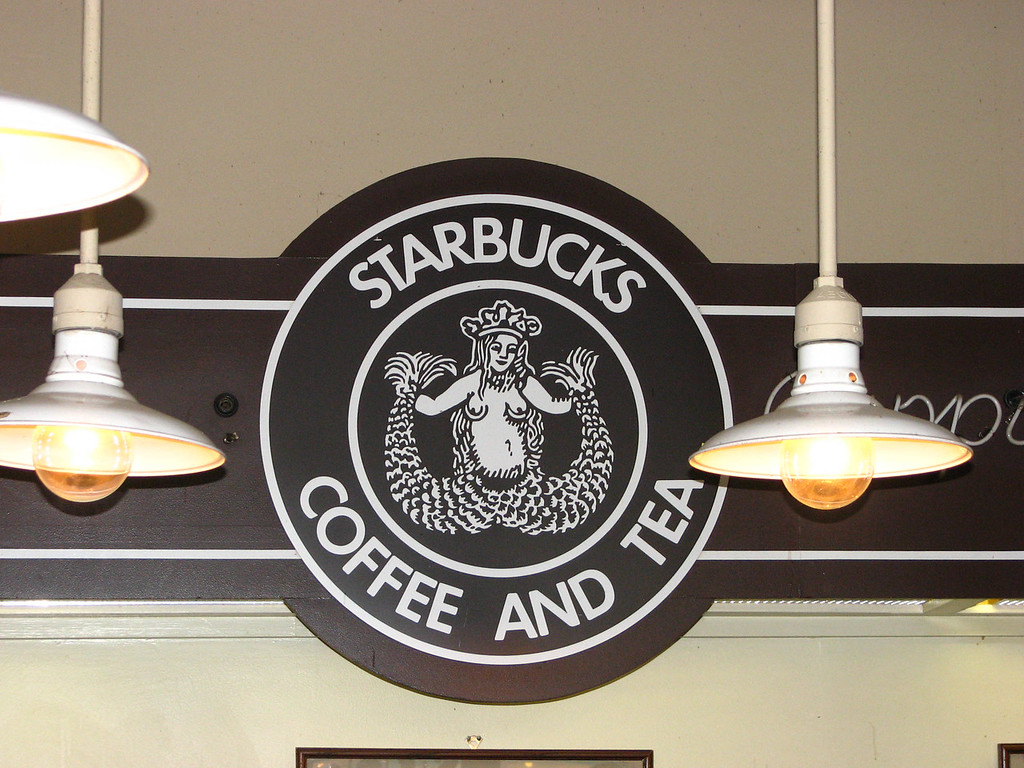 The original Starbucks logo, used only at the first store in Seattle.
