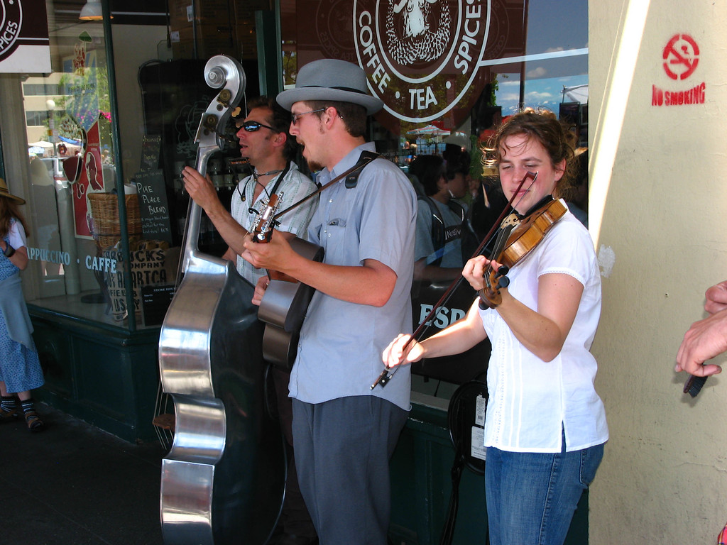Band outside the original Starbucks.