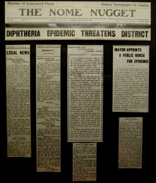 Headline in the Nome Nugget during the 1925 Diptheria Epidemic | Nome