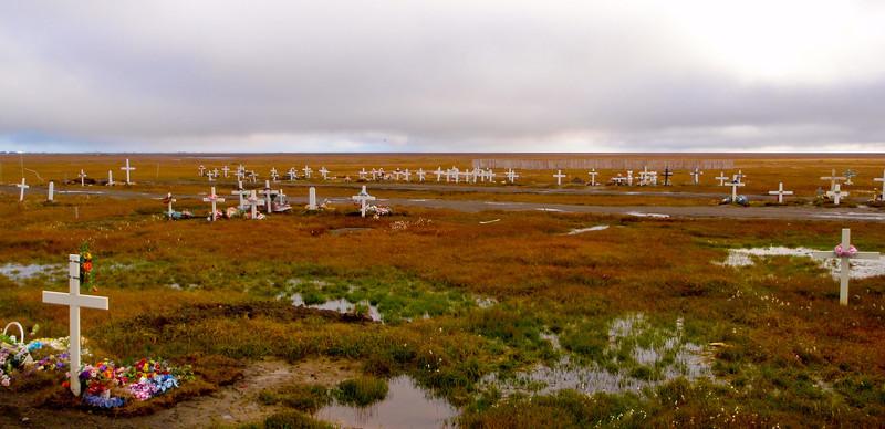 Cemetery out on the tundra   Barrow