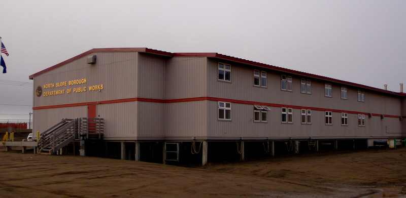 All the buildings are built on stilts to prevent the permafrost from melting   Barrow