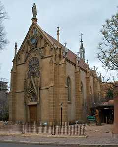 Outside of the Loretto Chapel