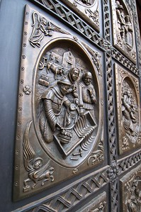 Bronze bas relief doors