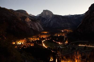 Lights in Yosemite Valley. Yosemite National Park, CA