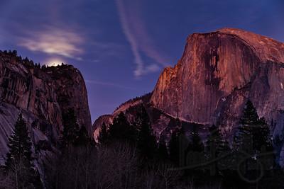 1.7.12 Moonrise at Half Dome. Yosemite National Park, CA.