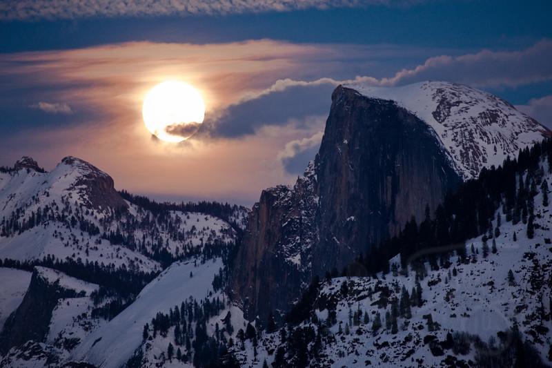 Full moon / Half Dome. Yosemite National Park, CA
