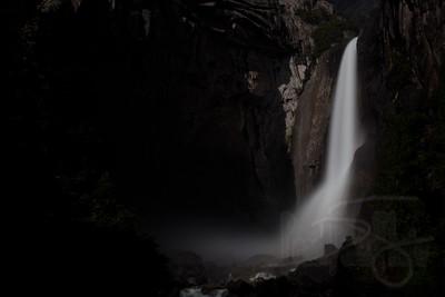 Lower Yosemite Falls by Moonlight. Yosemite National Park, CA