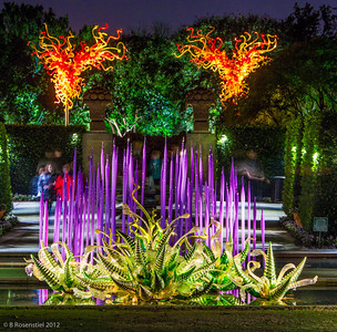 Asymetrical Towers Chihuly at Night, Dallas Arboretum, TX, 2012