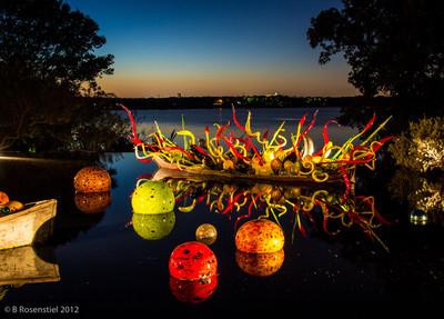 Carnival Boat Chihuly at Night, Dallas Arboretum, TX, 2012