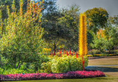 Yellow Icicle Tower Chihuly Exhibit, Dallas Arboretum, TX, 2012