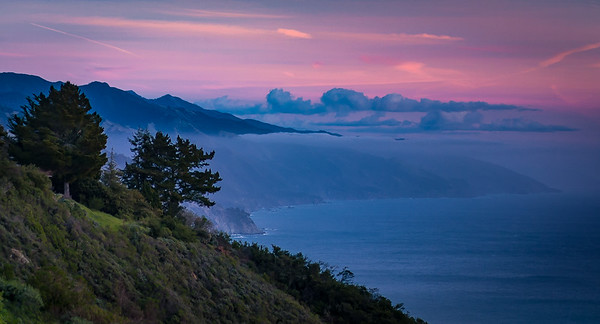 Misty Sunset on Big Sur Coast