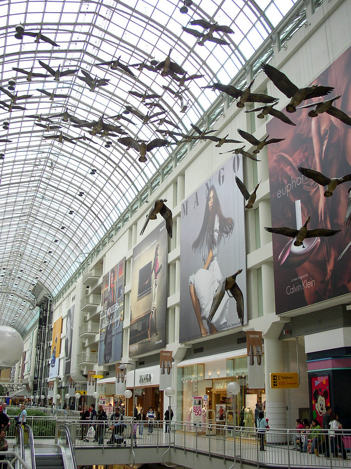 Flying geese sculpture in Toronto mall.