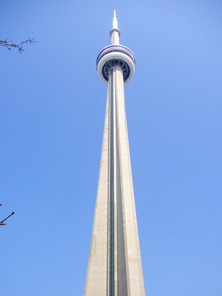 Looking up the CN Tower. We went all the way to the tiny pod at the very top!