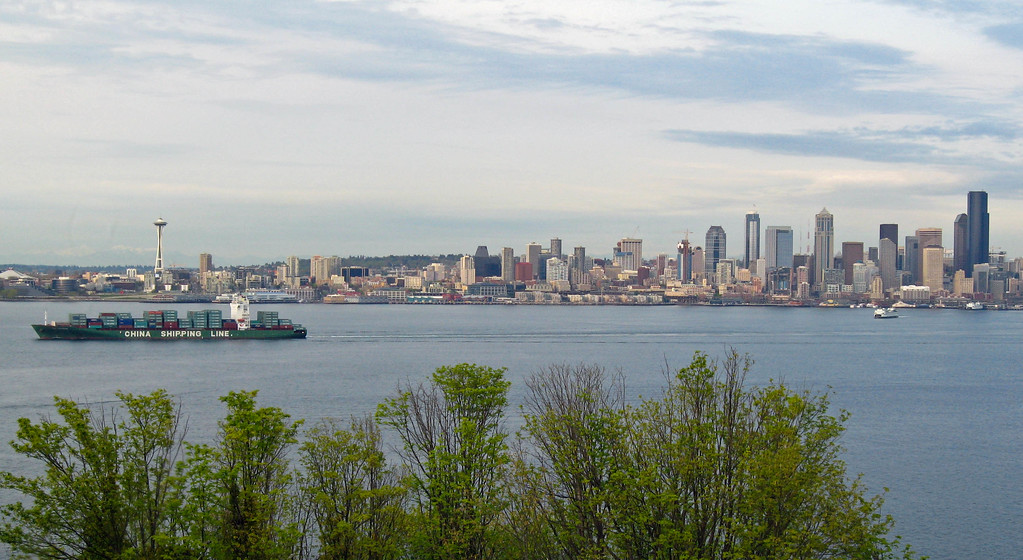 Seattle skyline and cargo ship