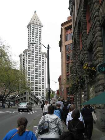 Seattle Underground tour goes above ground. The Smith Tower is in the background.