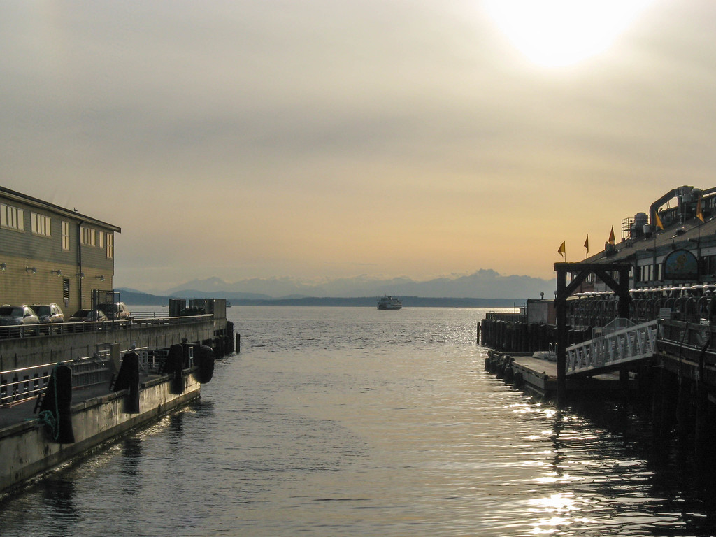 Seattle waterfront at dusk