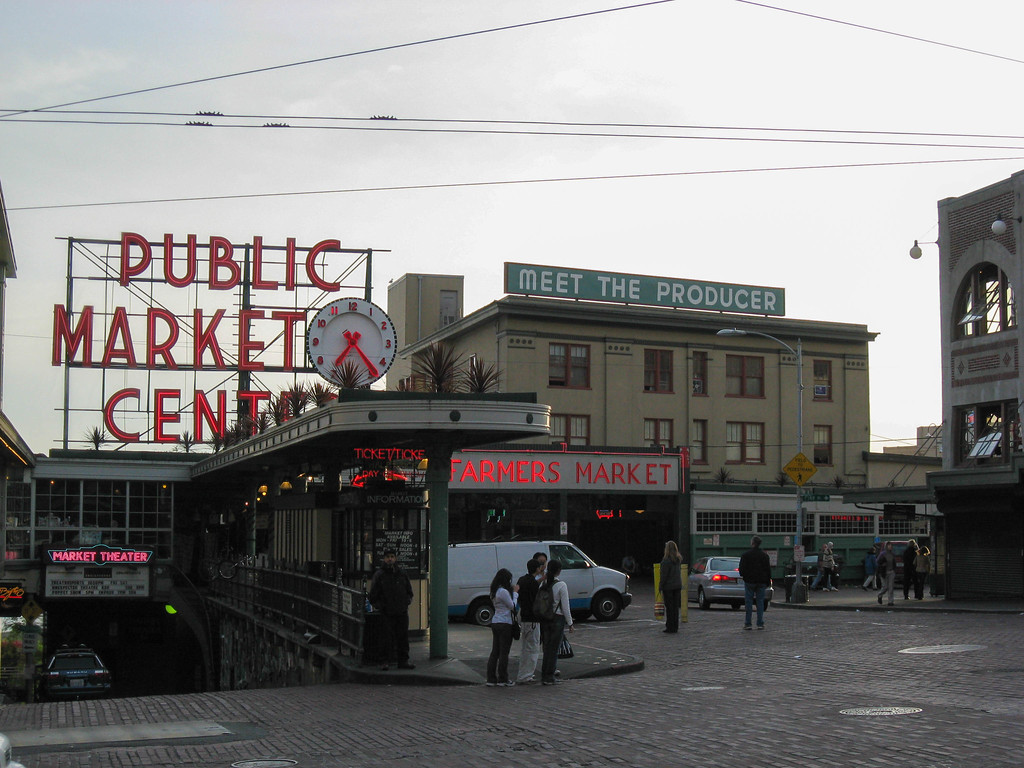 Pike Place Market at dusk on a Sunday evening
