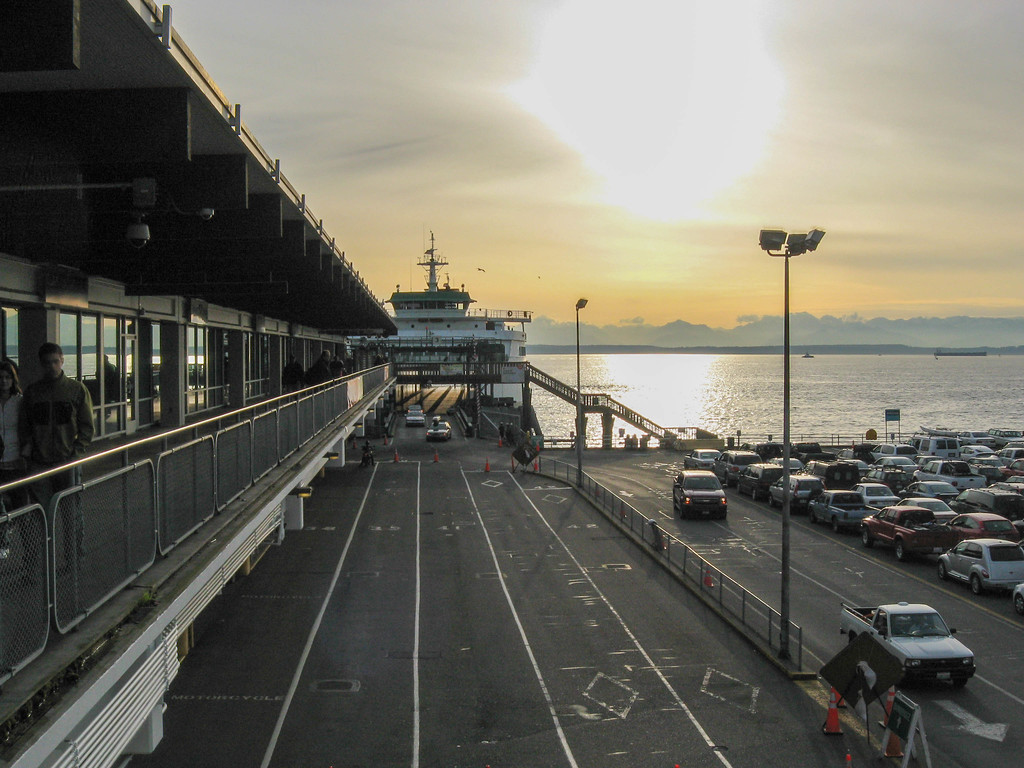 Washington ferry at dusk