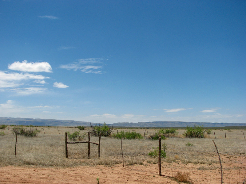 Nothing exists for miles around Prada Marfa except Highway 90.