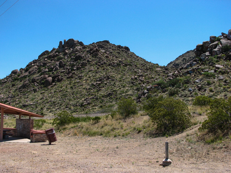 Rock formations in the desert east of El Paso on Interstate 10.