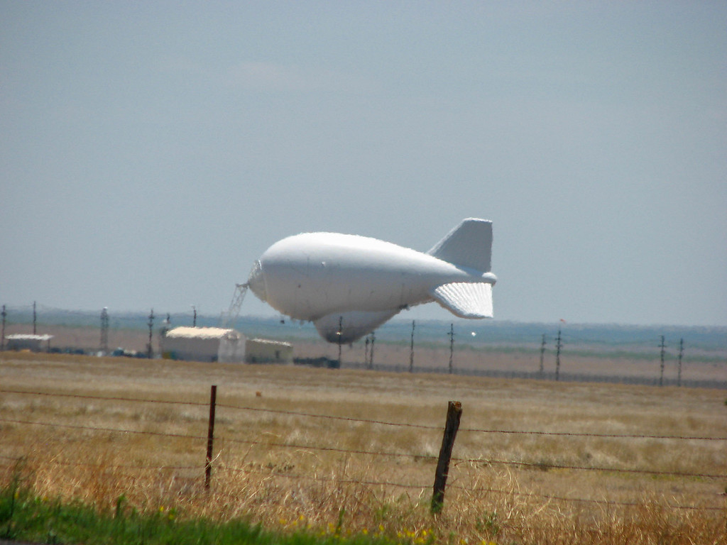 US Border Patrol blimp outside Marfa, Texas.