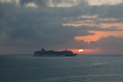 Coast of Belize The Norwegian Dawn at dawn near Belize City.