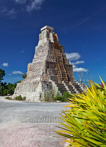 Costa Maya, Mexico A replica of a Mayan ruin sits in the roundabout in Costa Maya.