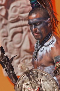 Costa Maya, Mexico Dressed in Mayan Warrior costumes, locals greet the ships docking at Costa Maya.