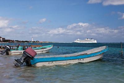 Mahahual, Mexico Boats moored near a small pier in Mahahual.