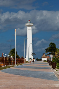 Mahahual, Mexico The Mahahual beach boulevard with a view of the lighthouse.