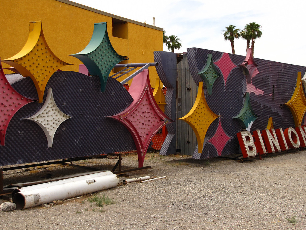 Old casino signs in the Las Vegas sign boneyard.