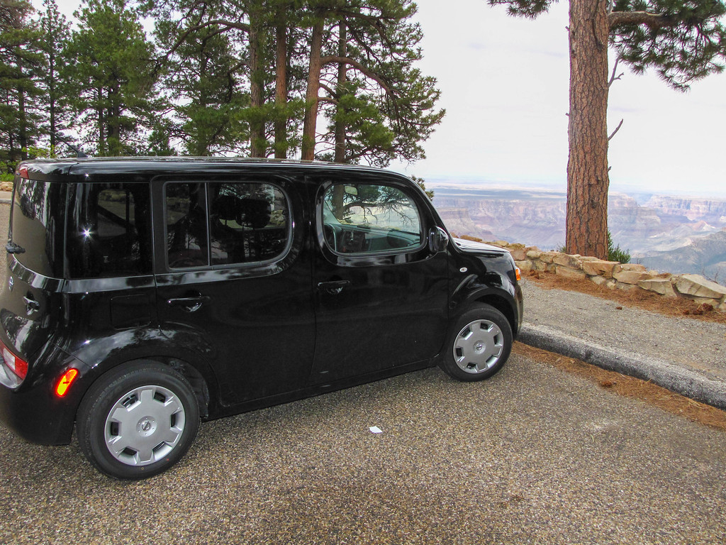 Our rental car for the second leg of the trip, a brand new Nissan Cube. We picked it up in Las Vegas with fewer than 20 miles on the odometer, and returned it a week later in Salt Lake City with over 1,000 miles on the odometer.