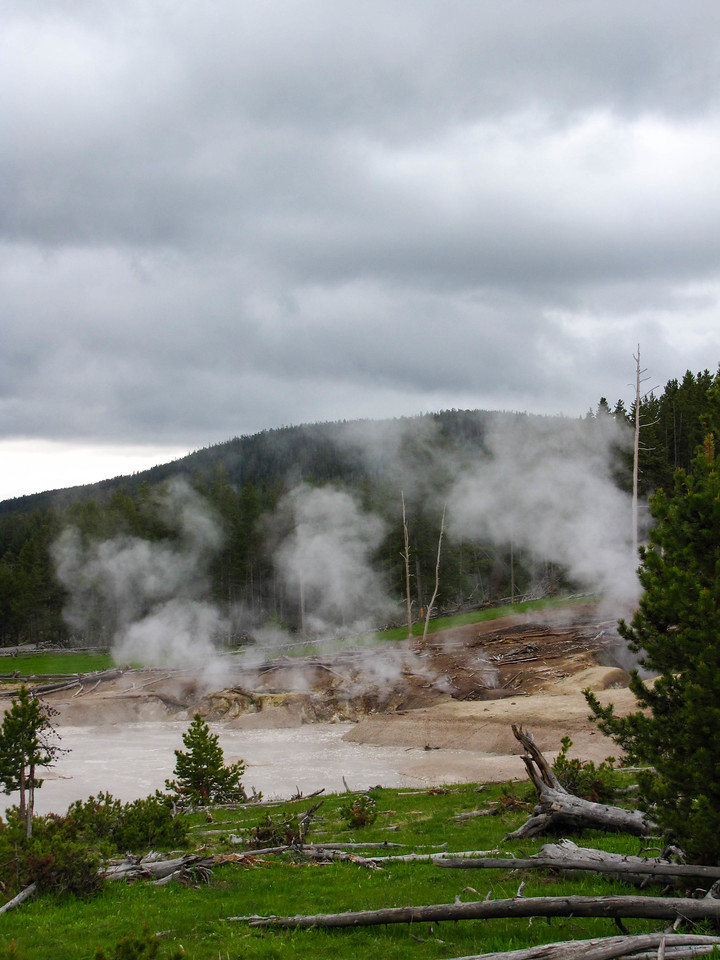 The Mud Volcano and Sulfur Cauldron area, Yellowstone National Park.