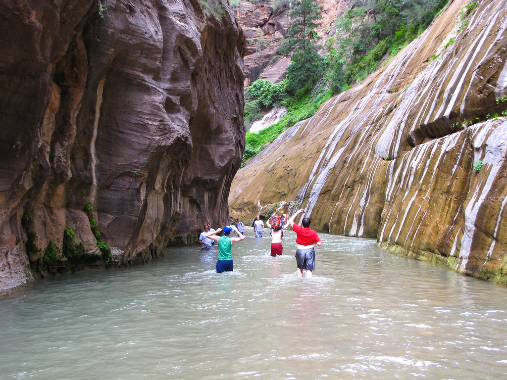 Hiking The Narrows in Zion National Park.