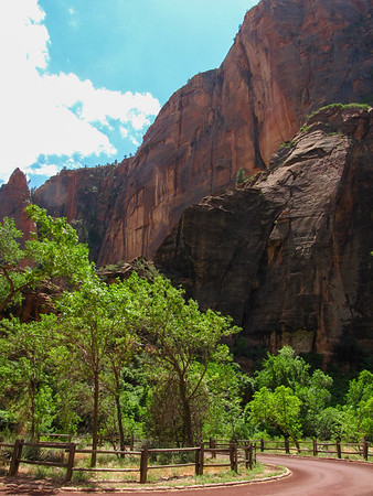 Driving into Zion Canyon.