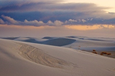 A sea of white sand