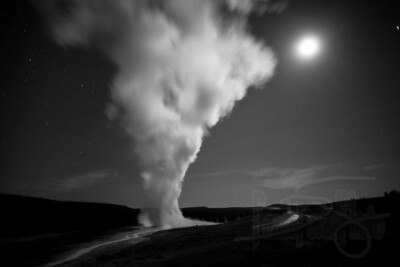Old Faithful by moonlight. Yellowstone National Park, WY