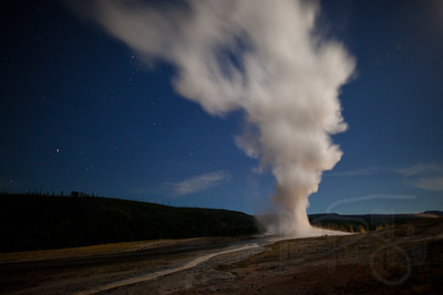 Old Faithful by moonlight. Yellowstone National Park, Wy.