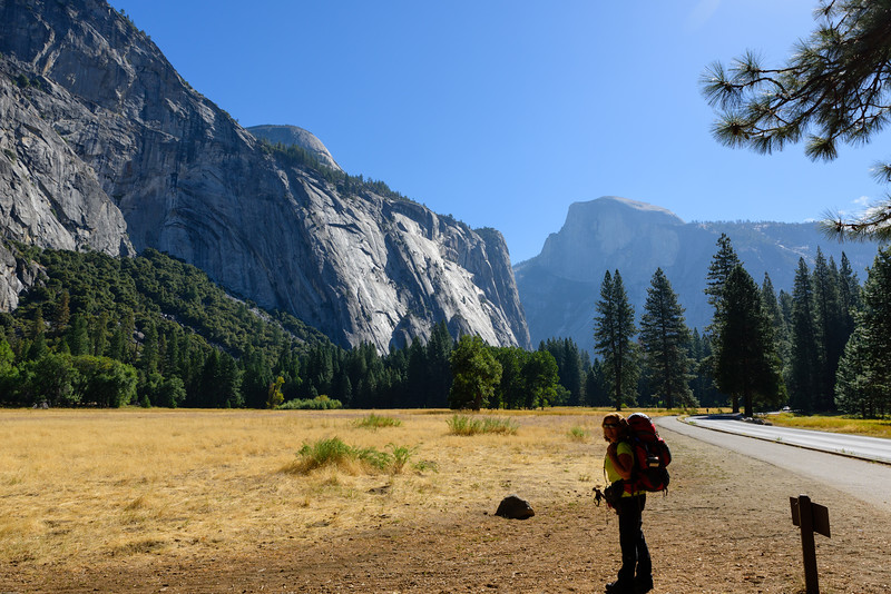 Our first look at Half Dome, nearly three miles away and over a mile up.
