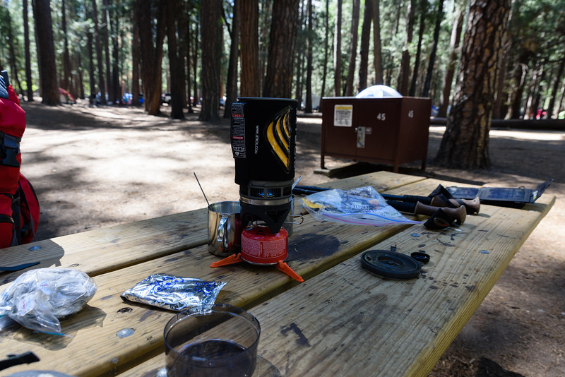 We used a JetBoil Flash stove to heat our meals and boil water for tea. Here you can see the tea bags in a plastic bag to the left, a poptart, and the food for the rest of the day to the right of the stove.