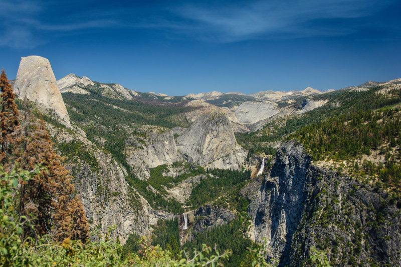 The Panorama Trail gets its name for obvious reasons. The views all along this trail are overwhelming. Here, you can see (left to right): Half Dome, Clouds Rest, Mt Broderick, Vernal Falls, Liberty Cap, Nevada Falls, Little Yosemite Valley, Moraine Dome, Mt Clark, and others.