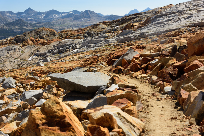 The trail on the north side of Red Peak was one of my favorite sections of trails. It was cooler and less buggy than other places, and just different terrain: the red soil and rocks were unique to this area of Yosemite.