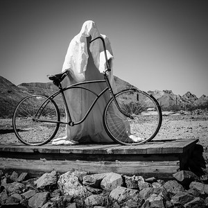 Ghost Cyclist, Ryolite Ghost Town, Death Valley National Park, California, USA