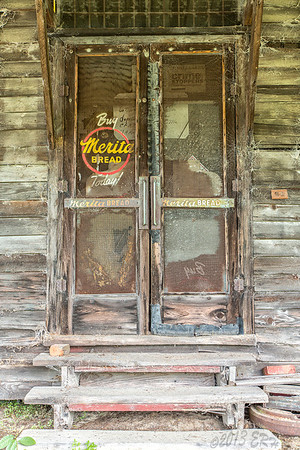 The doors of the I.J. William Grocery Store in Rex, NC.  Not so open for business.