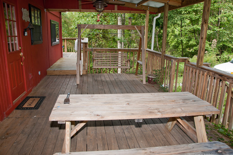• The cabin we stayed at in Bryson City, NC<br /> • The back porch